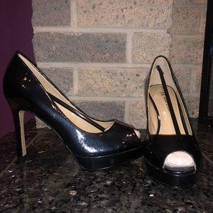 Anne Klein Navy Blue Patent Leather Peep-toe Heels